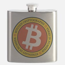 Full Color Bitcoin Logo with Motto Flask