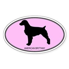 American Brittany (oval-pink) Oval Bumper Stickers