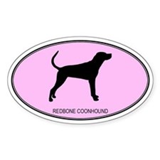Redbone Coonhound (oval-pink) Oval Bumper Stickers