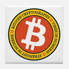 Full Color Bitcoin Logo with Motto Tile Coaster