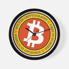 Full Color Bitcoin Logo with Motto Wall Clock