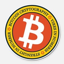 Full Color Bitcoin Logo with Mott Round Car Magnet