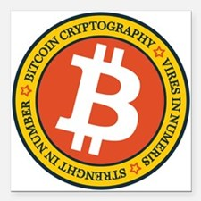 "Full Color Bitcoin Logo Square Car Magnet 3"" x 3"""