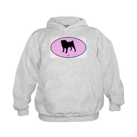 Pug (oval-pink) Kids Hoodie