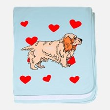 Clumber Spaniel Love baby blanket