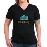 26.2 Marathon Runner Women's V-Neck Black T-Shirt