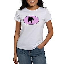 English Bulldog (oval-pink) Tee