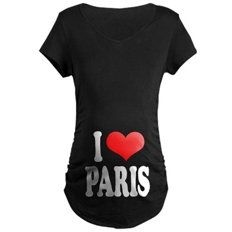 I Love Paris Maternity Dark T-Shirt