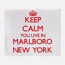 Keep calm you live in Marlboro New Y Throw Blanket