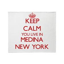 Keep calm you live in Medina New Yor Throw Blanket