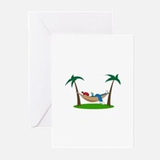 PALMS AND HAMMOCK Greeting Cards