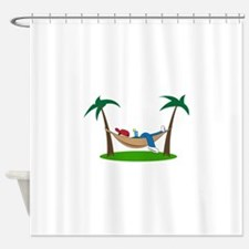 PALMS AND HAMMOCK Shower Curtain