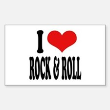 I Love Rock & Roll Rectangle Decal