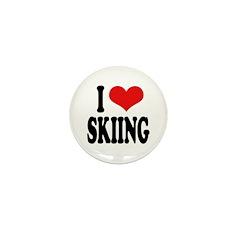 I Love Skiing Mini Button (100 pack)