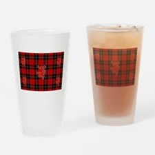 Red tartan and lion rampant design_ Drinking Glass