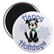 Tri-color Border Collie, Tug & Snowflake Magnet