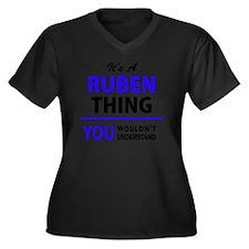 Cute Ruben Women's Plus Size V-Neck Dark T-Shirt