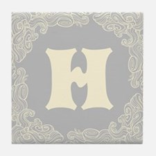 Gray Personalized monogram initial Tile Coaster