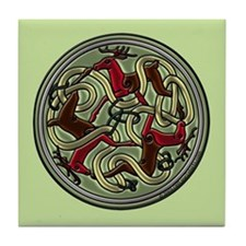 Celtic Deer Knotwork Tile Coaster