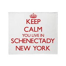 Keep calm you live in Schenectady Ne Throw Blanket