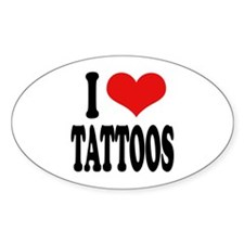 I Love Tattoos Oval Decal