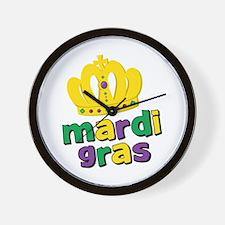 Mardi Gras Crown Wall Clock