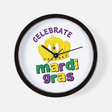 Celebrate Mardi Gras Wall Clock