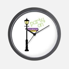 Party on Bourbon St Wall Clock
