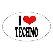 I Love Techno Oval Decal