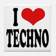 I Love Techno Tile Coaster