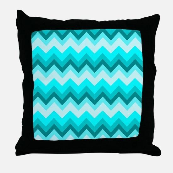 ombre teal turquoise chevron Throw Pillow