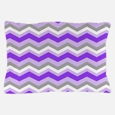 purple gray chevron Pillow Case