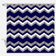 nautical blue chevron Shower Curtain