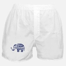 Cute Floral Elephant In Navy Blue Boxer Shorts