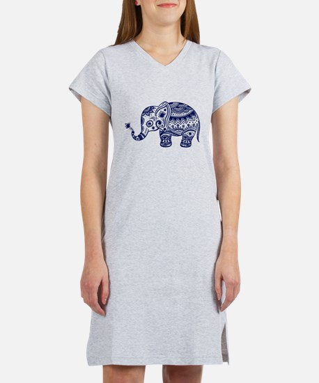 Cute Floral Elephant In Navy Bl Women's Nightshirt