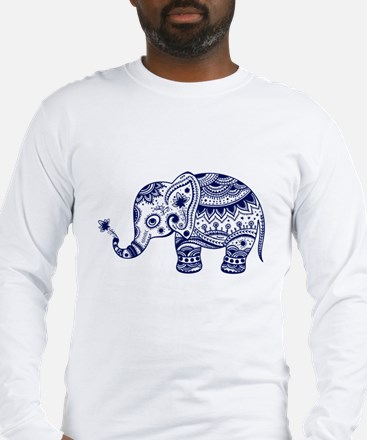 Cute Floral Elephant In Navy B Long Sleeve T-Shirt