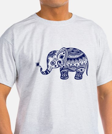 Cute Floral Elephant In Navy Blue T-Shirt