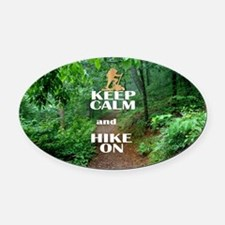 Keep Calm and Hike On Oval Car Magnet