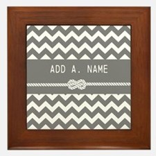 Gray Chevron with Personalized Name Framed Tile