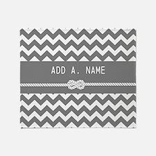 Gray Chevron with Personalized Name Throw Blanket