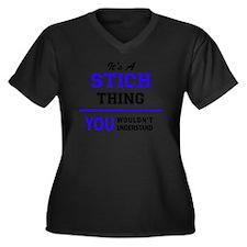 Cute Stiched Women's Plus Size V-Neck Dark T-Shirt