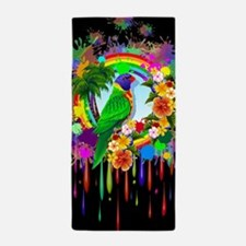 Rainbow Lorikeet Parrot Art Beach Towel