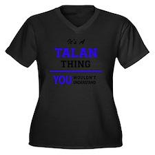 Cute Talan Women's Plus Size V-Neck Dark T-Shirt
