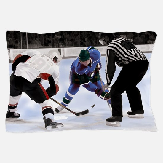 Ice Hockey Players and Referee Pillow Case