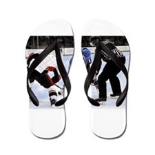 Ice Hockey Players and Referee Flip Flops