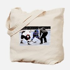 Ice Hockey Players and Referee Tote Bag