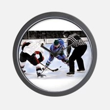 Ice Hockey Players and Referee Wall Clock