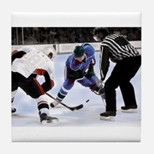 Ice Hockey Players and Referee Tile Coaster