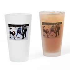 Ice Hockey Players and Referee Drinking Glass