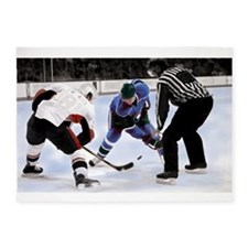 Ice Hockey Players and Referee 5'x7'Area Rug